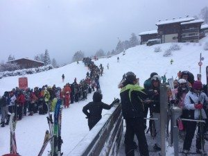 Lift ticket queue at Les Houches